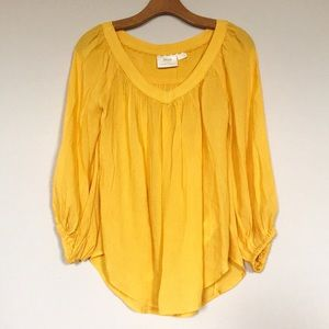 Maeve Yellow V Neck Embroidered Blouse